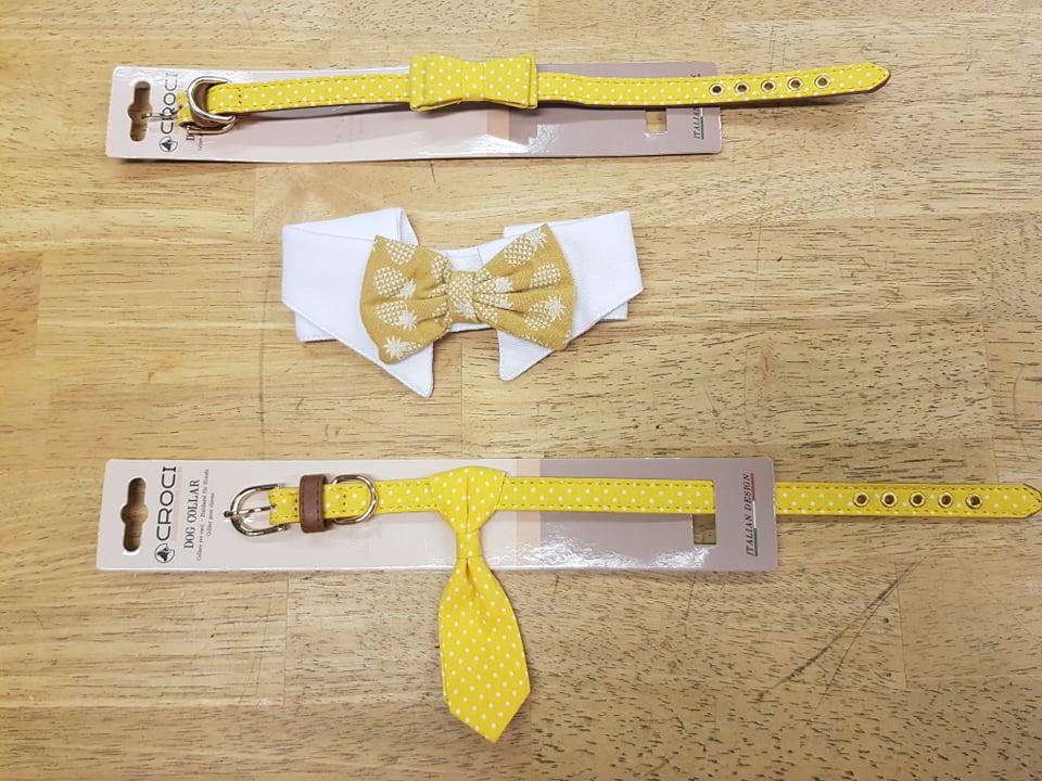 kraag met strik geel 25-30cm