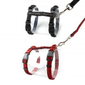 Kat wandelset glitter Zwart/rood 20-35cm / 10mm - 125cm