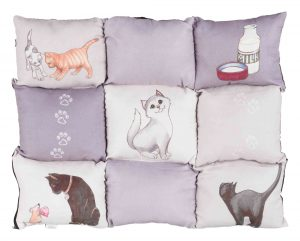 Kussen Patchwork Cat grijs