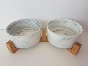 CatzWalk duo eetpot met houten staander marmer