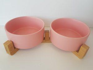 CatzWalk duo eetpot met houten staander roze