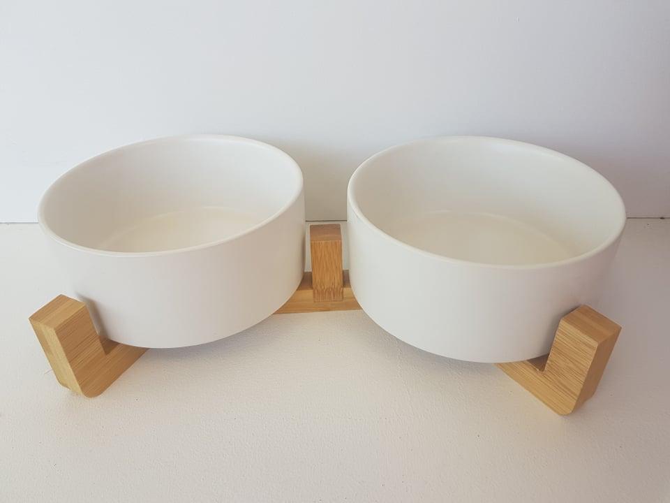 CatzWalk duo eetpot met houten staander wit