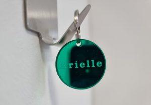 naam label alle kleuren halsband of sleutelhanger